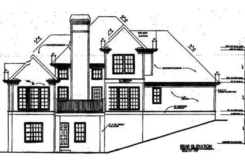 European Exterior - Rear Elevation Plan #129-109 - Houseplans.com