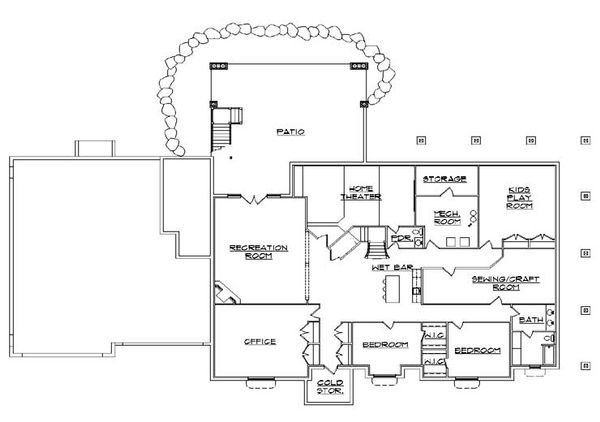 House Plan Design - European Floor Plan - Lower Floor Plan #5-348
