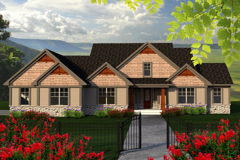 Craftsman Exterior - Front Elevation Plan #70-1169