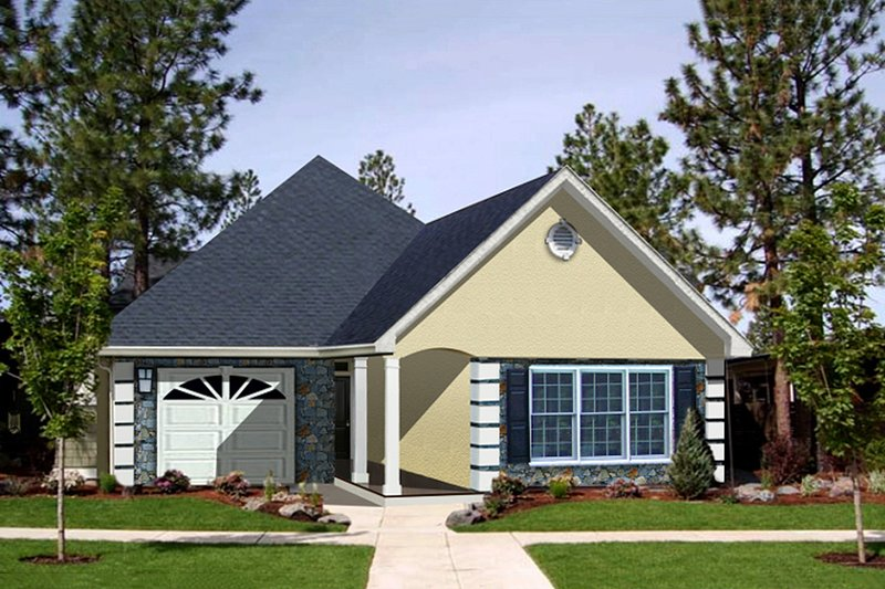 European Style House Plan - 2 Beds 2 Baths 1312 Sq/Ft Plan #44-132 Exterior - Front Elevation