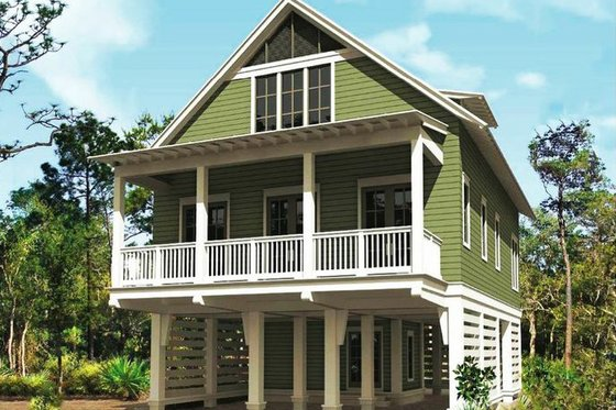 Beach Exterior - Front Elevation Plan #443-12
