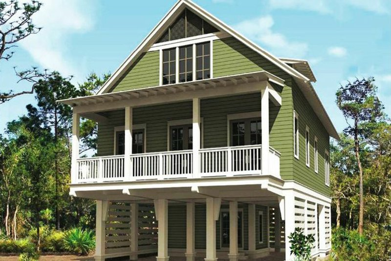 Beach Style House Plan - 3 Beds 2.5 Baths 1863 Sq/Ft Plan #443-12 Exterior - Front Elevation