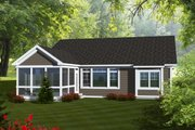 Ranch Style House Plan - 2 Beds 2 Baths 1680 Sq/Ft Plan #70-1111 Exterior - Rear Elevation