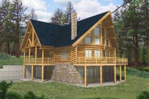 Log Exterior - Front Elevation Plan #117-398