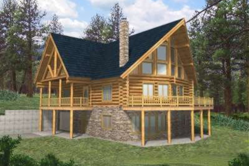 Log Style House Plan - 4 Beds 2.5 Baths 3725 Sq/Ft Plan #117-398 Exterior - Front Elevation