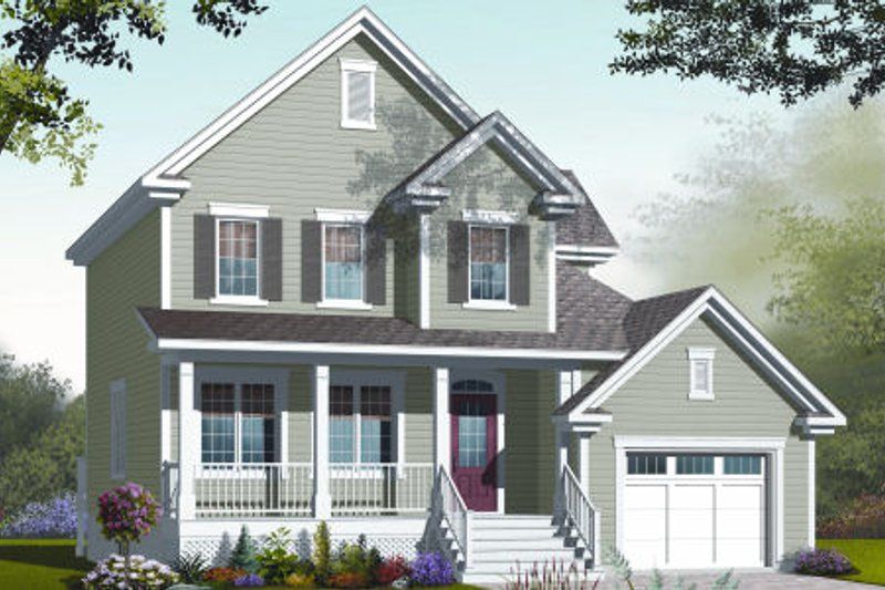 Country Style House Plan - 3 Beds 2 Baths 1719 Sq/Ft Plan #23-2233 Exterior - Front Elevation