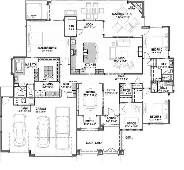 Architectural House Design - Adobe / Southwestern Floor Plan - Main Floor Plan #1069-16
