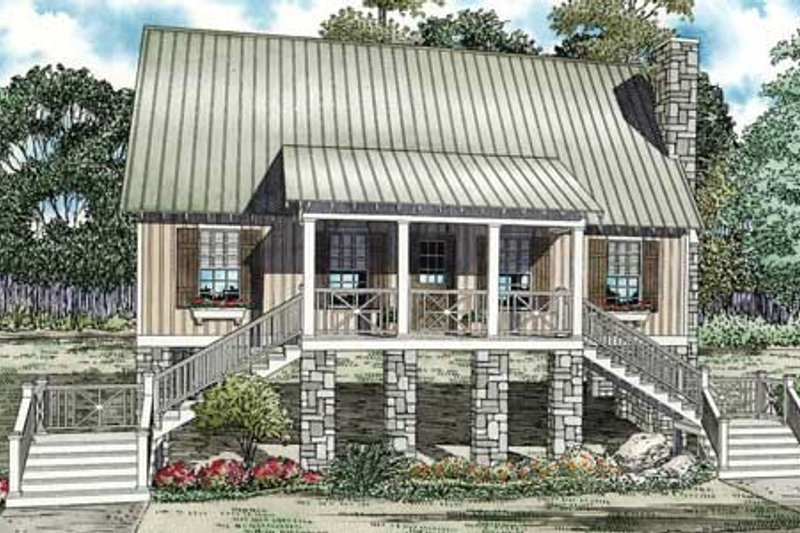 Cottage Style House Plan - 3 Beds 2 Baths 1374 Sq/Ft Plan #17-2345 Exterior - Front Elevation