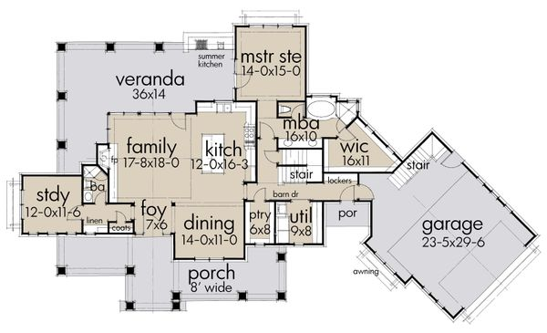 Farmhouse Floor Plan - Main Floor Plan Plan #120-251