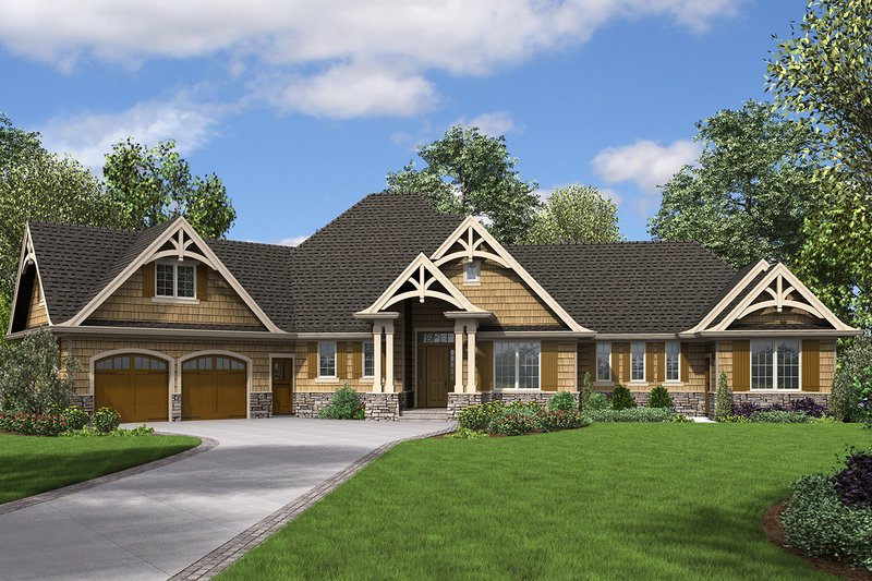 Craftsman Style House Plan - 4 Beds 3.5 Baths 2801 Sq/Ft Plan #48-945 Exterior - Front Elevation