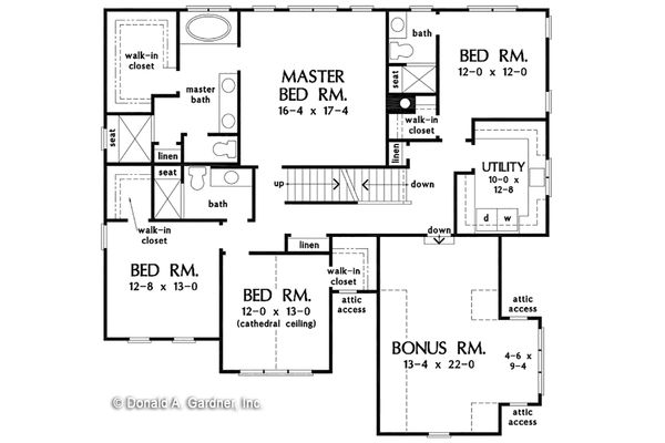 Craftsman Floor Plan - Upper Floor Plan Plan #929-1079
