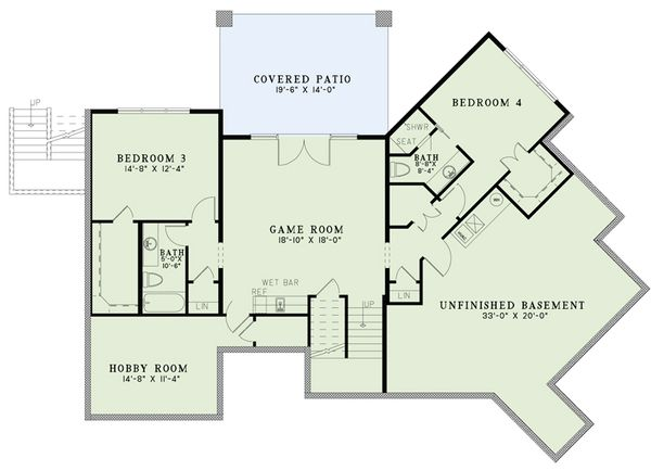 Craftsman Floor Plan - Lower Floor Plan Plan #17-2486