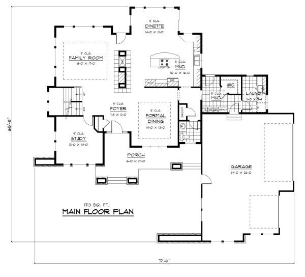 Prairie Floor Plan - Main Floor Plan Plan #51-283