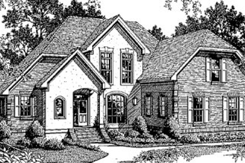 European Style House Plan - 3 Beds 2.5 Baths 2341 Sq/Ft Plan #41-159 Exterior - Front Elevation
