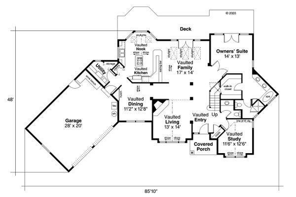 Ranch Floor Plan - Main Floor Plan Plan #124-129