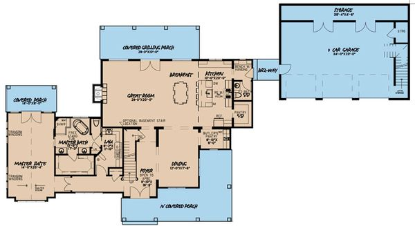 Farmhouse Floor Plan - Main Floor Plan Plan #923-117