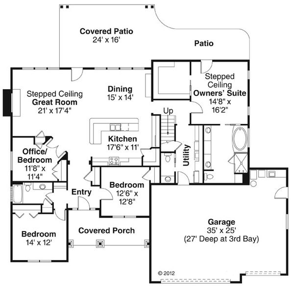 Craftsman Floor Plan - Main Floor Plan Plan #124-886
