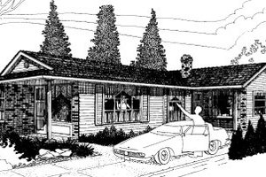 Ranch Exterior - Front Elevation Plan #303-169