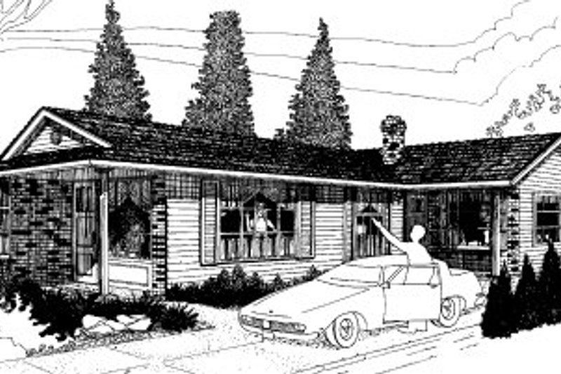 Ranch Style House Plan - 2 Beds 1 Baths 1808 Sq/Ft Plan #303-169 Exterior - Front Elevation