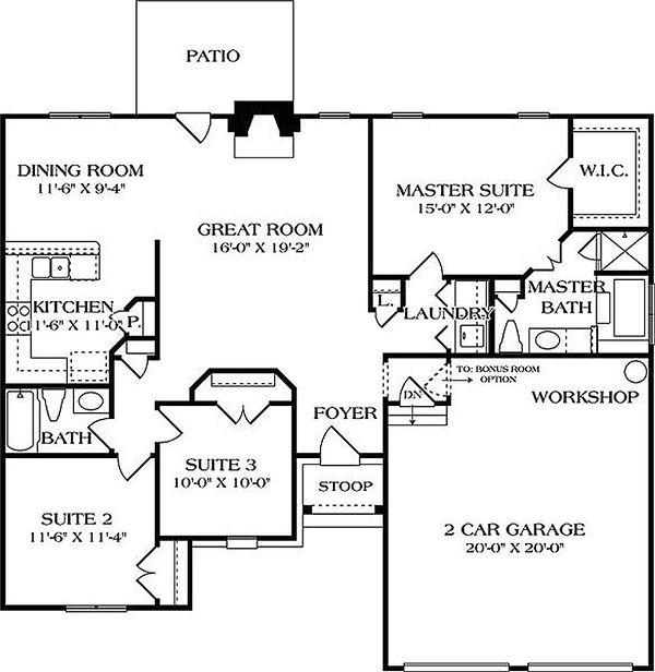Main level floor plan - 1400 square foot European home
