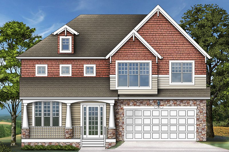 Front Elevation Of Bathroom : Craftsman style house plan beds baths sq ft