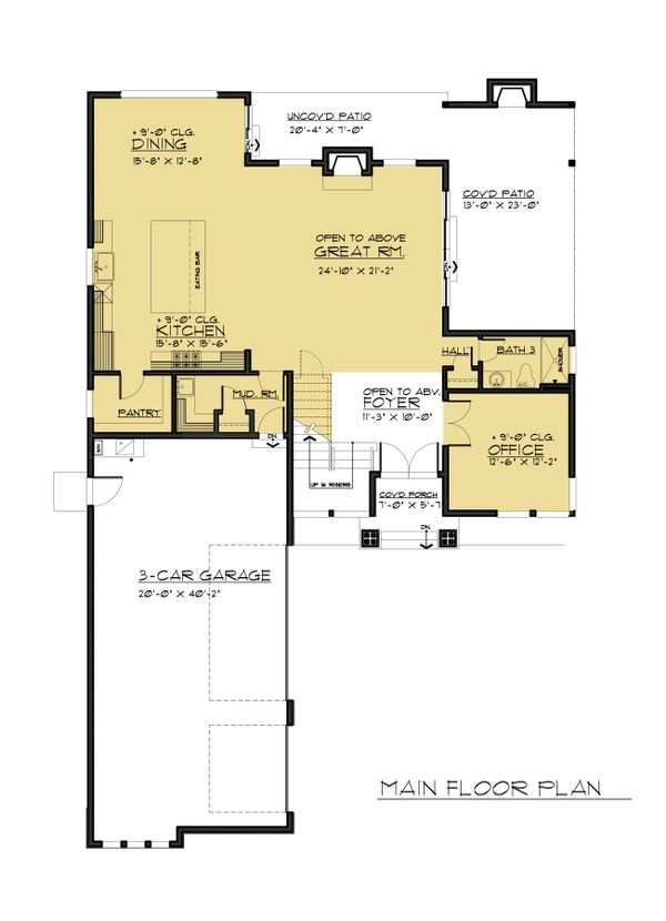 Contemporary Floor Plan - Main Floor Plan Plan #1066-66