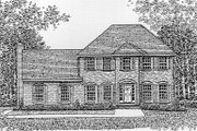 Colonial Style House Plan - 4 Beds 2.5 Baths 2336 Sq/Ft Plan #12-208 Exterior - Front Elevation