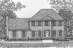 Colonial Exterior - Front Elevation Plan #12-208