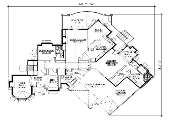 European Floor Plan - Main Floor Plan Plan #5-333