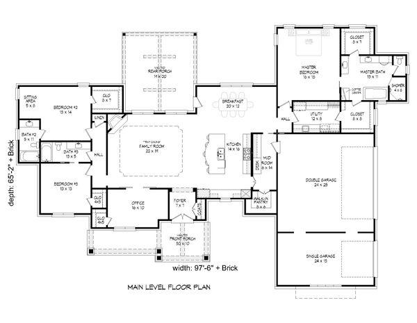 Country Floor Plan - Main Floor Plan #932-65