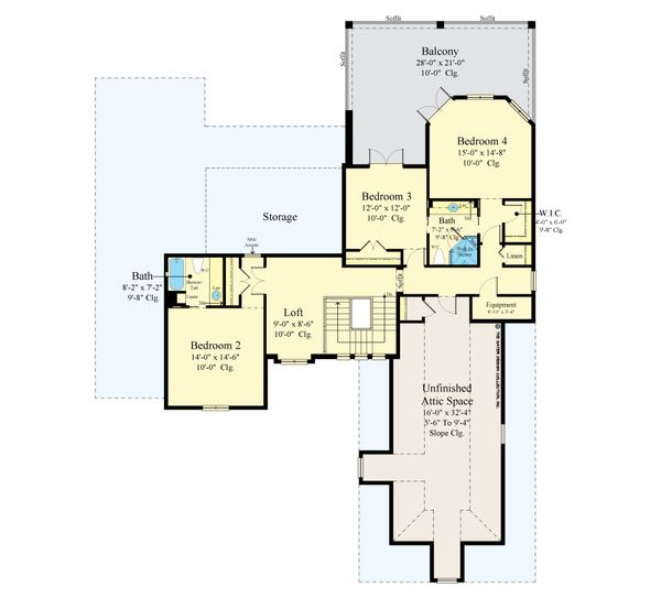 European Floor Plan - Upper Floor Plan #930-517