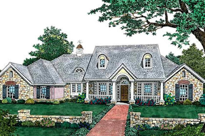 European Style House Plan - 4 Beds 2.5 Baths 2496 Sq/Ft Plan #310-618 Exterior - Front Elevation