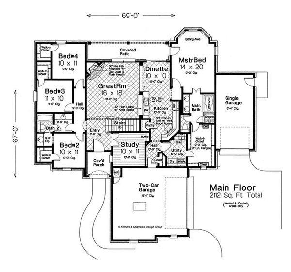 European Floor Plan - Main Floor Plan Plan #310-1289