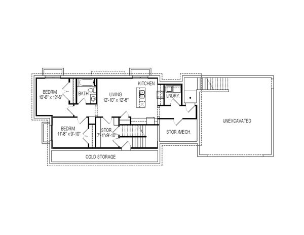 Craftsman Floor Plan - Lower Floor Plan Plan #920-9