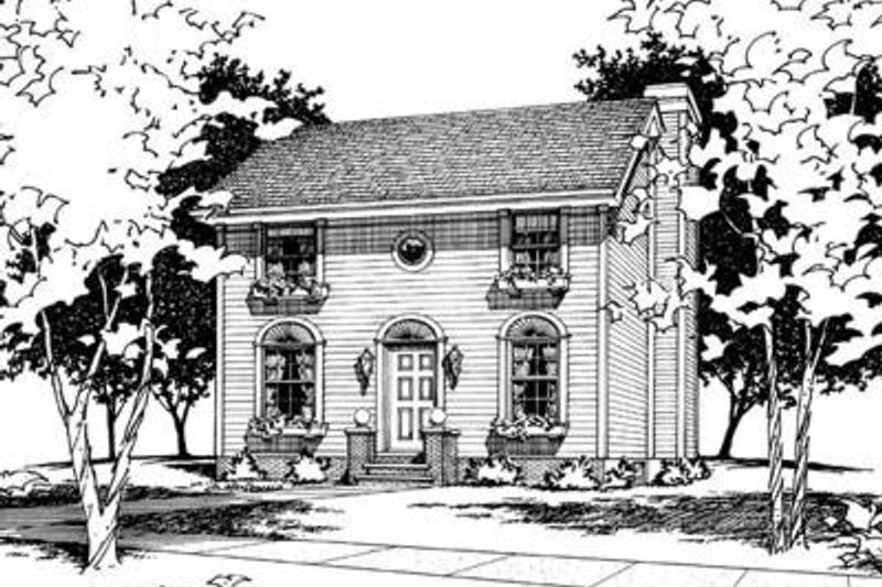 Colonial Style House Plan - 3 Beds 2.5 Baths 1561 Sq/Ft Plan #20-450 Exterior - Front Elevation