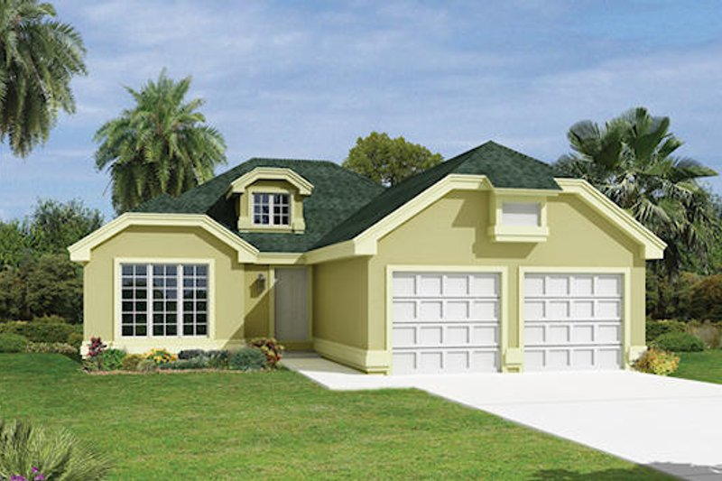 European Style House Plan - 3 Beds 2 Baths 1516 Sq/Ft Plan #57-168 Exterior - Front Elevation