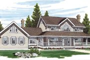 Country Style House Plan - 4 Beds 3 Baths 2797 Sq/Ft Plan #47-305 Exterior - Front Elevation