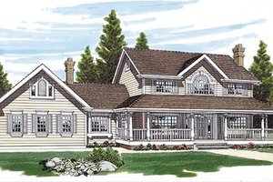 Country Exterior - Front Elevation Plan #47-305
