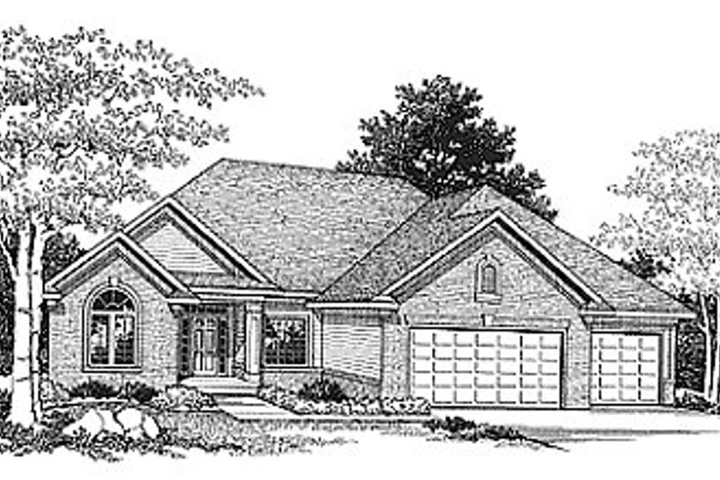 Traditional Style House Plan - 2 Beds 2 Baths 1940 Sq/Ft Plan #70-250 Exterior - Front Elevation