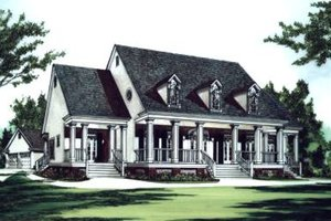 Southern Exterior - Front Elevation Plan #37-105