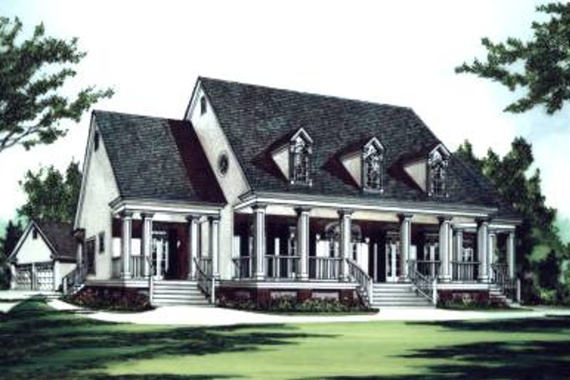 Southern Exterior - Front Elevation Plan #37-105 - Houseplans.com