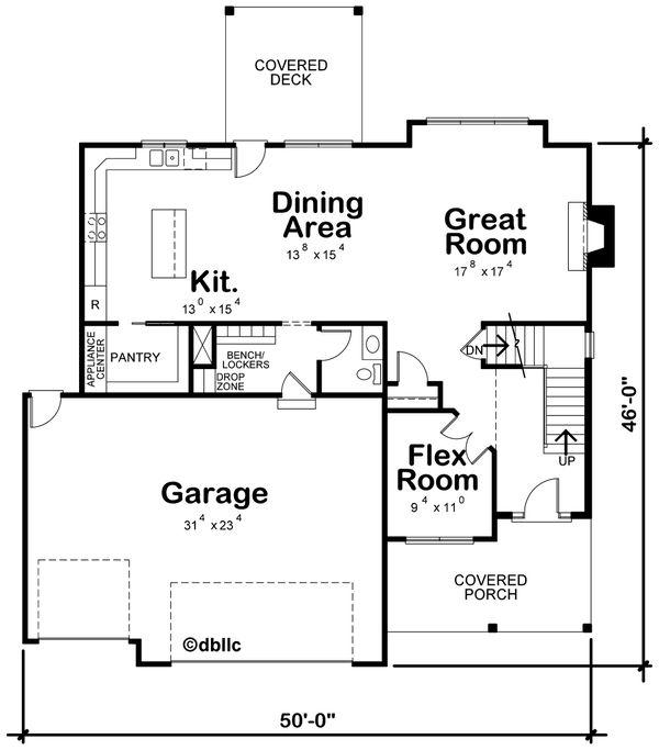 Architectural House Design - Traditional Floor Plan - Main Floor Plan #20-2406