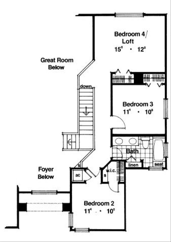 Modern Floor Plan - Upper Floor Plan Plan #417-212