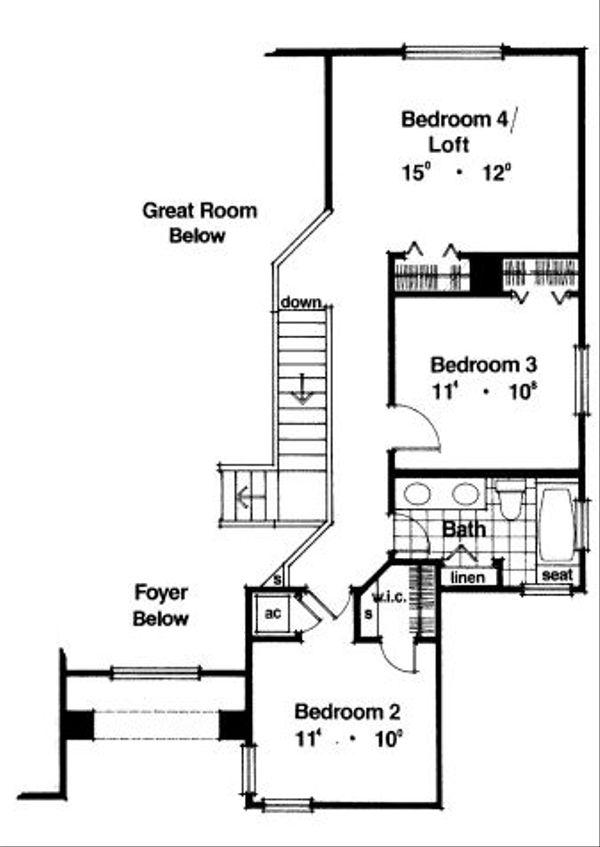Modern Floor Plan - Upper Floor Plan Plan #417-212