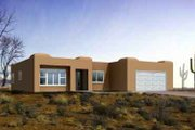 Adobe / Southwestern Style House Plan - 3 Beds 2 Baths 1628 Sq/Ft Plan #1-1311 Exterior - Front Elevation
