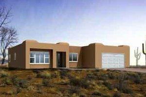 Adobe / Southwestern Exterior - Front Elevation Plan #1-1311