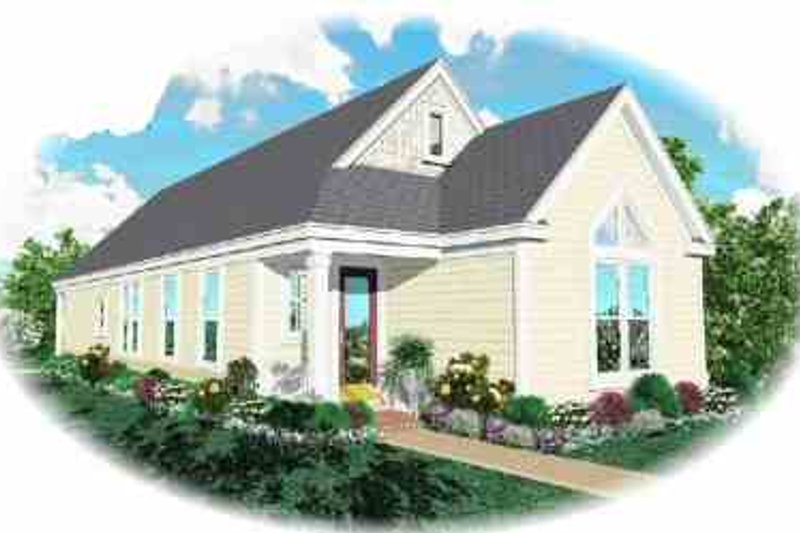 Cottage Style House Plan - 3 Beds 2 Baths 1297 Sq/Ft Plan #81-187 Exterior - Front Elevation