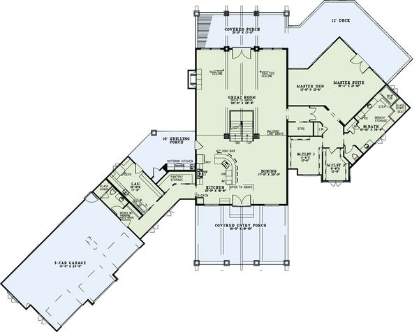 Craftsman Floor Plan - Main Floor Plan Plan #17-2500