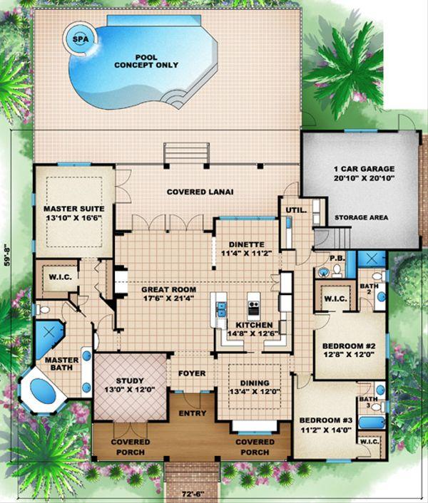 Beach Floor Plan - Main Floor Plan Plan #27-437