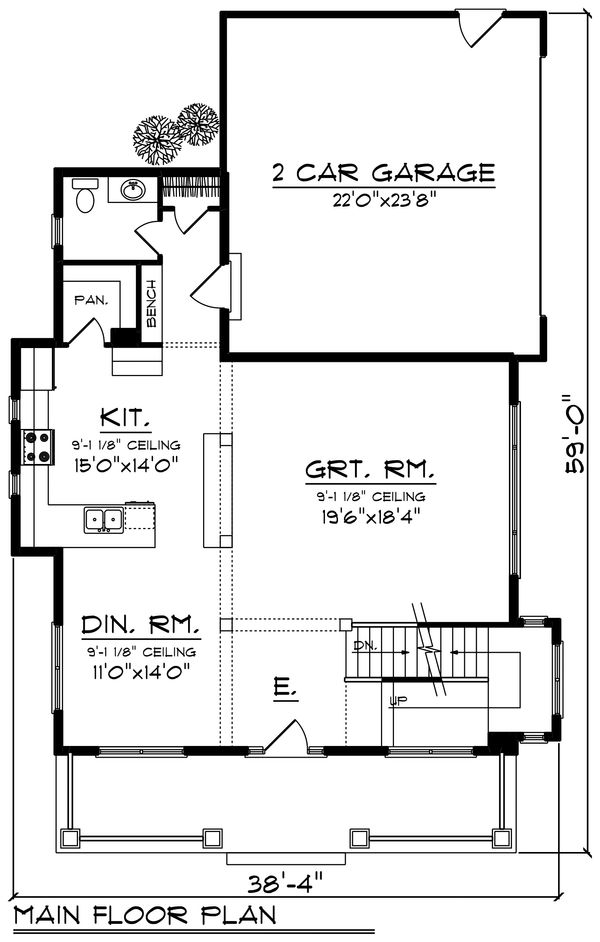 Craftsman Floor Plan - Main Floor Plan Plan #70-1219